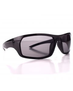 Men's Sport Sunglasses, Gloss Black Square Frame, Black Lens, OS
