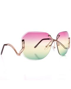 Women's Beach Fashion Designer Sunglasses, Gold Square Frame, Purple Green Lens