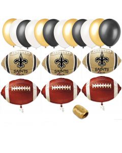 New Orleans Saints Playoffs Football Party Bouquet 18pc Balloon Pack, Navy Gold