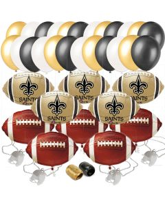 New Orleans Saints Playoffs Mega Big Football Party 48pc Balloon Pack, Navy Gold
