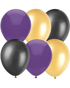 "Football Team Fan Solid Color Party 11"" Latex Balloons, Purple Gold Black, 6 CT"