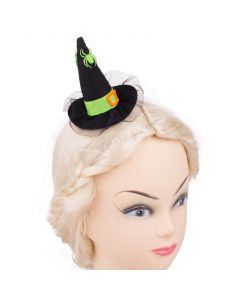 Veil Entertainment Spiders Mini Witch Hat Hair Clips, Black Green, One-Size