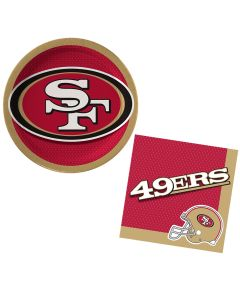 San Francisco 49ers Plates & Napkins 24pc 8 Guests Party Tableware Set
