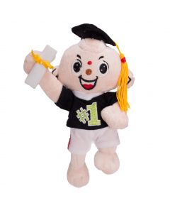 "Veil Entertainment Jumping #1 Graduate Cap and Gown Doll 9"" Plush Doll, Black"