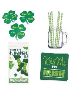 St Patrick Kiss Me I'm Irish Napkins, 39pc Shamrock Table Decoration Pack, Green