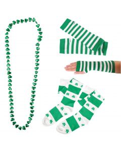 St Patrick Shamrock Arm Warmer Socks 3pc Women Accessory Set, Green, One-Size