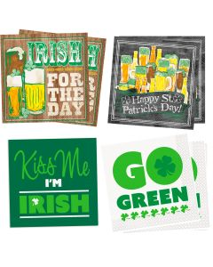 "St Patricks Day 2-PLY Beverage Assortment 10"" Napkins, Green, 4 Packs of 16"
