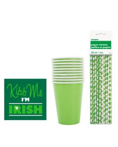 St. Patrick's Day Beverage 36pc 10 Guests Party Tableware Set, Green