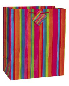 Veil Entertainment Vertical Striped Water Colored Medium 13in Gift Bag