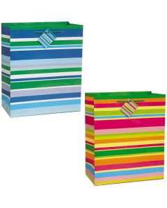 Veil Entertainment Vibrant Horizontal Striped Pastel Medium 13in Gift Bag