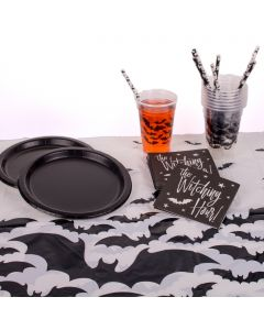 Batty Bat Halloween Deco Pack 51pc 8 Guests Party Tableware Set, Black White