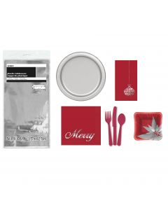 73pc Christmas Party Set For 8, Red and Silver Poinsettia Plates, Napkins