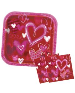 Valentiens Painted Hearts 24pc 8 Guests Party Tableware Set, Pink Purple