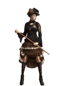 Quality Cosplay Steampunk Multilayer Lace Skirt, Brown, Small/Medium