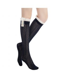 Pique Chevron Knit Boot Holiday Knee-High Socks, One-Size, Black White