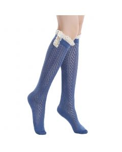 Pique Chevron Knit Boot Holiday Knee-High Socks, One-Size, Blue White