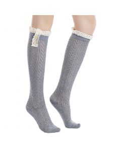 Pique Chevron Knit Boot Holiday Knee-High Socks, One-Size, Grey White