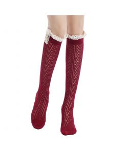 Pique Chevron Knit Boot Holiday Knee-High Socks, One-Size, Red White