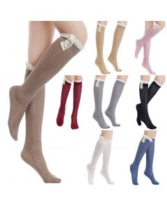 Pique Chevron Knit Boot Holiday Knee-High Socks, One-Size, Assorted