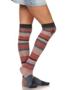 Lady's Fashion Striped Leg Warmer Boot Socks, Red Blue, One Size 9-11