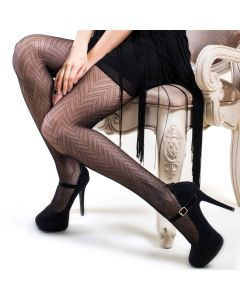 Killer Legs Refined Zig Zag Anti-Snag Fishnet Tights, Black, One-Size 100-175lbs
