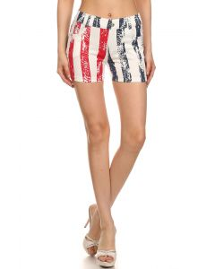 Womens Fashion American Flag Stripe Jegging Shorts, Red White Blue, S/M 4-6