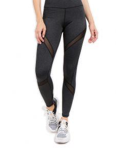 Mesh-Panel Activewear Ankle Length Leggings w Back Pocket, Heather Charcoal