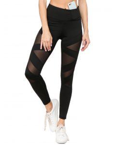 Women's Active Mesh Striped Single Pocket Leggings, Black, Small 2-4
