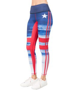 Yelete Women's Stars & Stripes Quality Active Leggings, Red White Blue, Small