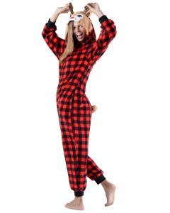 Comfy Plaid Reindeer Holiday Onesi3 Piece Women Costume, Red Black, Large 12-14