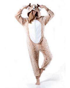 Comfy Spotted Reindeer Onesi3 Piece Women Costume, Brown White, Large 12-14