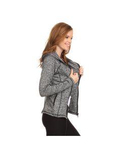Yelete Women's Activewear Zip Up Workout Jacket w Hoodie, Charcoal Grey, Medium