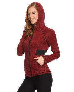 Women's Activewear Zip Up Workout Jacket w Hoodie, Wine Red, Small