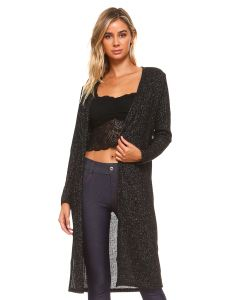 Yelete Long Sleeved Ribbed Shimmer Longline Silhouette Cardigan, Black, Small