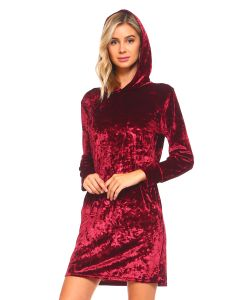 Warm Holiday Icy Velvet Long Sleeve Pocket Hooded Dress, Wine Red, Small 2-4