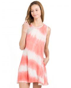 Yelete Lightweight Jersey Knit Tie Dye Swing Tank Dress w Pockets, Coral, Small