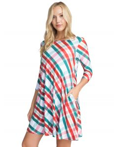 Festive Plaid Print Christmas Swing Dress, White Red Green, Small 4-6