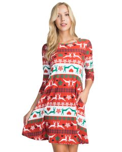 Festive Reindeer Print Christmas Swing Dress, White Red Green, Small 4-6