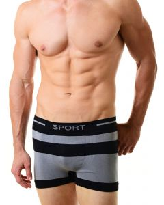 Men's Cayman Underwear Seamless Boxer Briefs, One-Size, Black Charcoal Grey