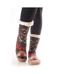 Plush Holiday Christmas Character Faux Sherpa 2pc Socks, One-Size