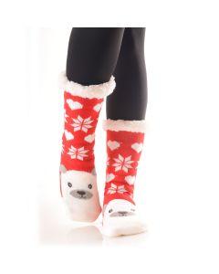 Plush Christmas Polar Bear Faux Sherpa 2pc Socks, Red White, One-Size