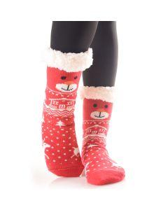 Plush Christmas Bear Faux Sherpa 2pc Socks, Red White, One-Size