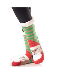 Plush Christmas Santa Faux Sherpa 2pc Socks, Red White Green, One-Size