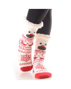 Plush Christmas Bear Faux Sherpa 2pc Socks, White Red, One-Size