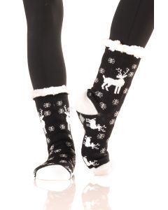 Women's Faux Sherpa Reindeer Holiday Socks, One-Size, Black Grey