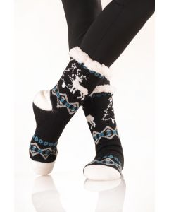 Women's Faux Sherpa Reindeer Holiday Socks, One-Size, Black Teal