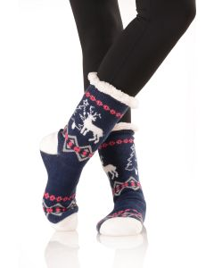 Women's Faux Sherpa Reindeer Holiday Socks, One-Size, Blue Pink