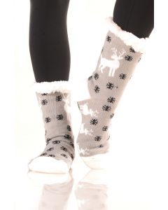 Women's Faux Sherpa Reindeer Holiday Socks, One-Size, Grey Black