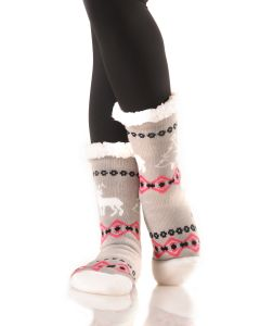 Women's Faux Sherpa Reindeer Holiday Socks, One-Size, Grey Pink