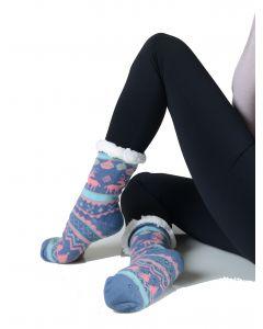 Women's Faux Sherpa Reindeer Argyle Slipper Socks, One-Size 9-11, Blue Pink